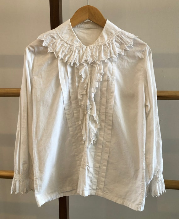 Antique Embroidered Blouse with Jester Trim - image 2