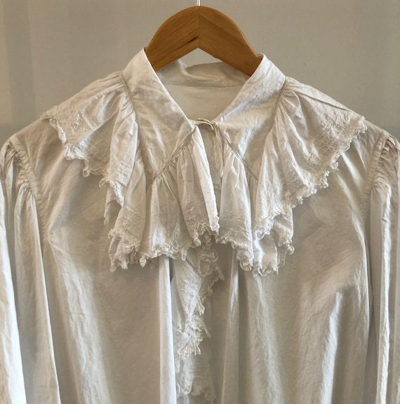 Antique Embroidered Ruffle Blouse - image 2