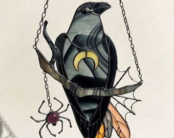 Mystical Crow Raven Witch Decor Halloween Stained Glass Panel Black Suncatcher Home House Window Wall Hangings Horror Ornament Gift