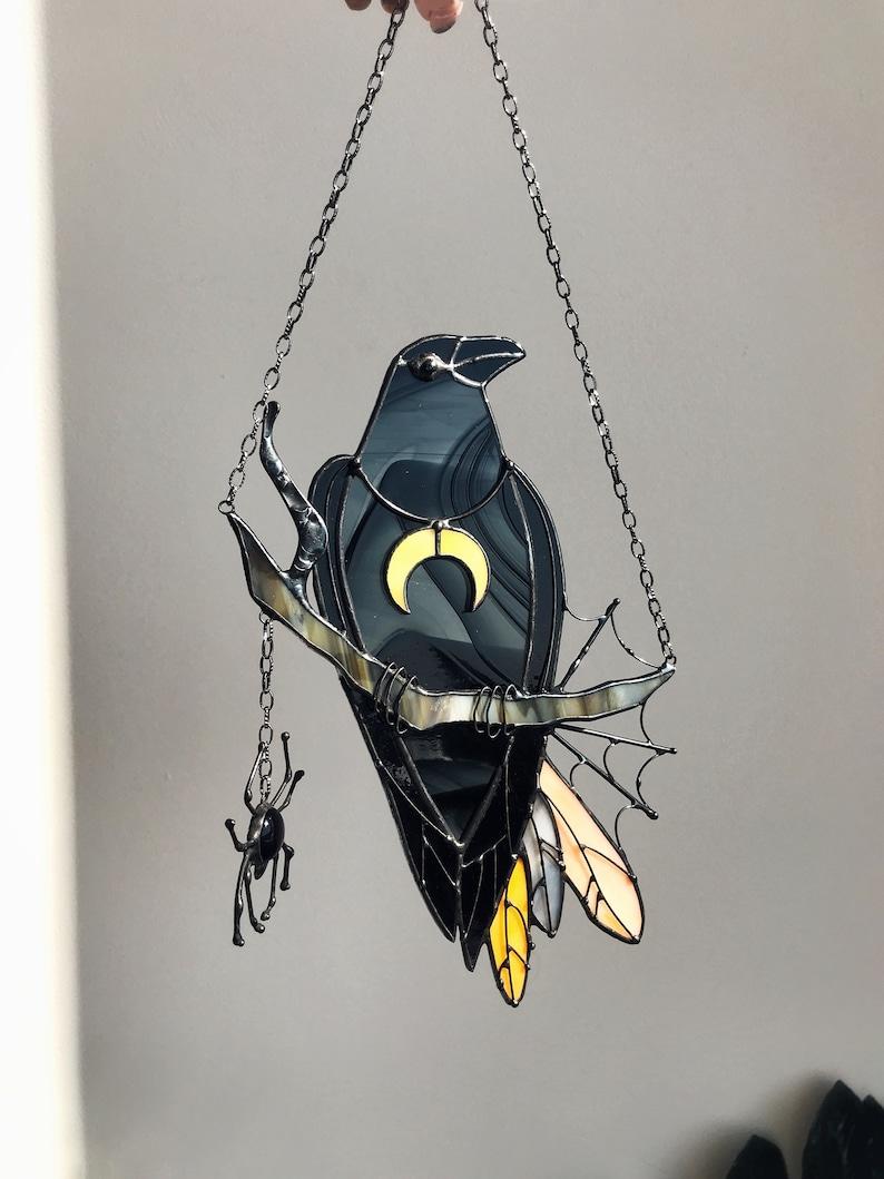Mystical Crow Halloween Stain Glass Panel Black Suncatcher Etsy