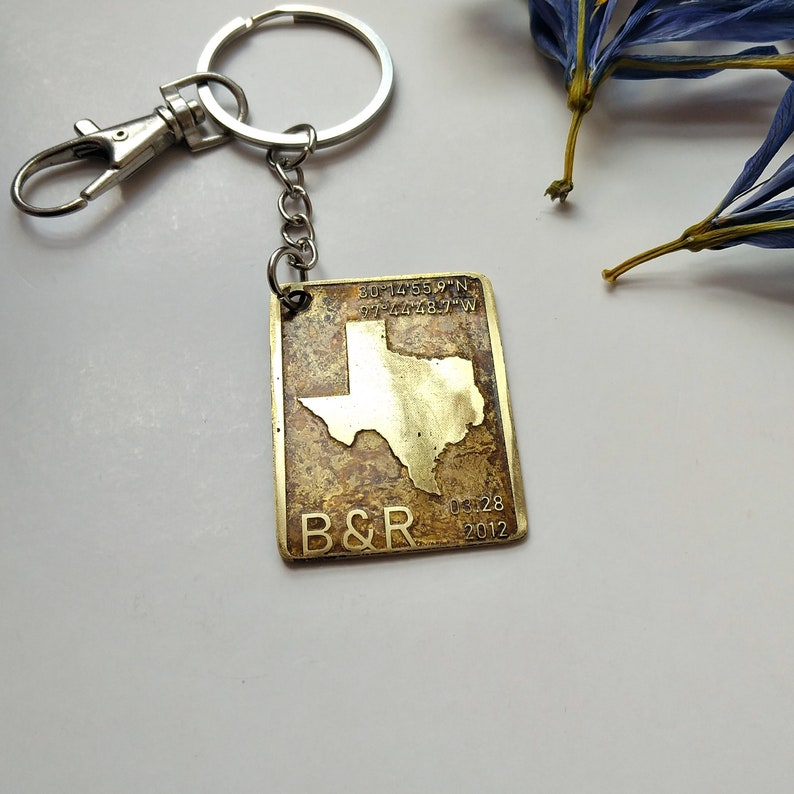 Date and Initials Coords Handmade Personalised Keychain #44 Place of Commitment with State Map Love Gift Gift for Him