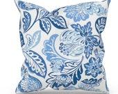 Blue Floral Outdoor Pillow Cover, Blue Outdoor Decor, Blue Patio Pillows, Blue Outdoor Cushions, Richloom Solarium Outdoor Dailey Lapis