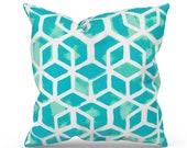 Aqua Outdoor Pillow Cover, Aqua Patio Pillow, Aqua Outdoor Cushion, Aqua Patio Cushion, Premier Prints Celtic Surfside, Aqua Turquoise
