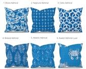 Blue Outdoor Pillow Cover, Outdoor Decor, Blue Patio Pillows, Blue Patio Cushions, Blue Outdoor Decor, Premier Prints Admiral, Zipper Pillow