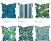 Blue Green Outdoor Pillow Covers, Outdoor Cushions, Patio Pillows, Patio Decor, Outdoor Furniture, Richloom Fabrics, Tropical Outdoor Pillow