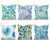 Blue Floral Outdoor Pillow Covers, Blue Outdoor Decor, Blue Patio Pillows, Blue Outdoor Cushions, Richloom Solarium Outdoor