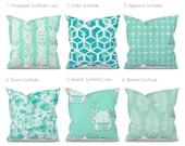 Aqua Outdoor Pillow Cover, Aqua Patio Pillow, Aqua Outdoor Cushion, Aqua Patio Cushion, Premier Prints Surfside, Aqua Turquoise