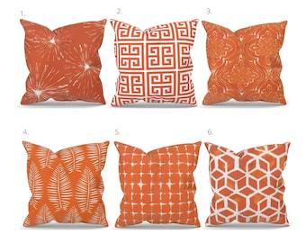 Orange Outdoor Pillow Covers,  Orange Decorative Pillow, Orange Throw Pillow, Orange Lumbar, Premiere Prints Marmalade, Custom Size