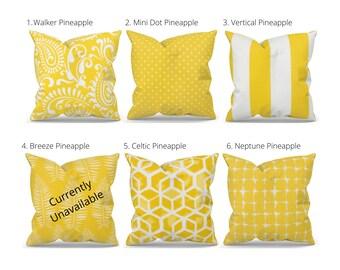 Yellow & White Outdoor Pillow Covers, Outdoor Decor, Patio Decor, Outdoor Throw Pillow, Designer Pillow Cover, Outdoor Seating, Garden Decor