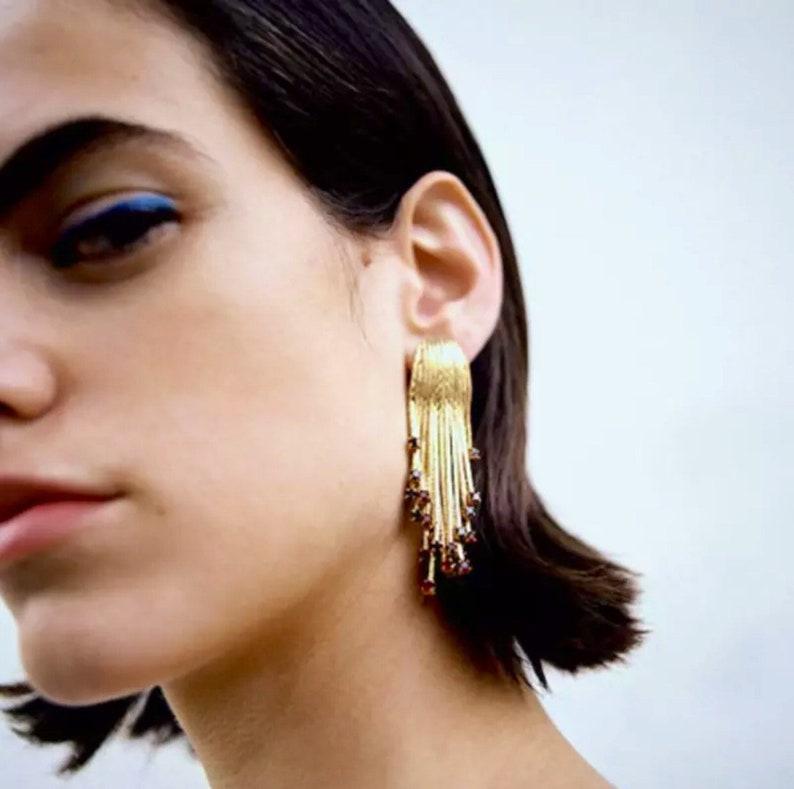 Gold snake chain tassel earrings long tassel gold red tip gemstone earrings boho festival gold plated snake  chain sleek fringe earrings