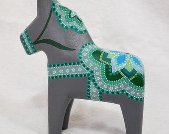 Swedish Dala Horse Grey and Green Floral