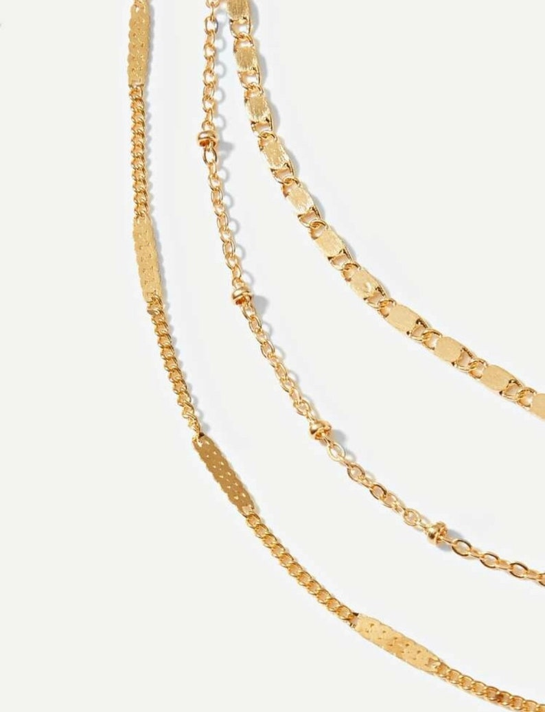 New Years Eve Jewelry Festive Jewelry Gift Multi Strand Gold Choker Necklace Formal Event Jewelry Stunning Gold Choker Necklace