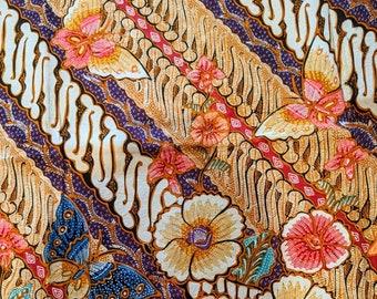 Hokokai Authentic Hand Drawn Indonesian Batik Tulis Fabric Peacock Butterfly Sarong Peranakan Javanese Balinese Oriental Tapestry