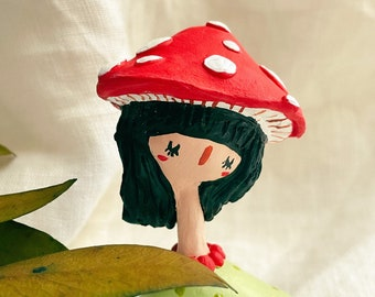 Girl mushrooms cute hat little  cute/Handmade Decorative /Polymer Clay  /decorations /Best gift /clay art /sculpture/unique