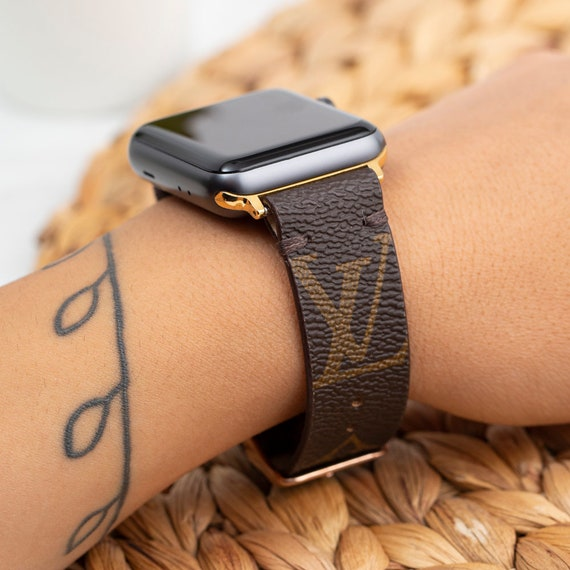 Handmade Apple Watch Band Re-Purposed Classic Brown Monogram for Apple Watch Series 1, 2, 3, 4, 5 and 6