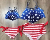 Mommy and Me Patriotic Swimsuit July 4th bikini women s swimsuit toddler girl bikini set girls swimsuit