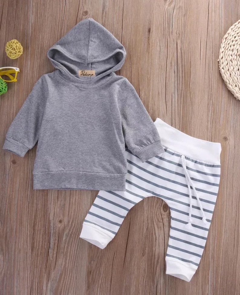 Baby boy outfit spring baby outfit gender neutral unisex grey baby outfit
