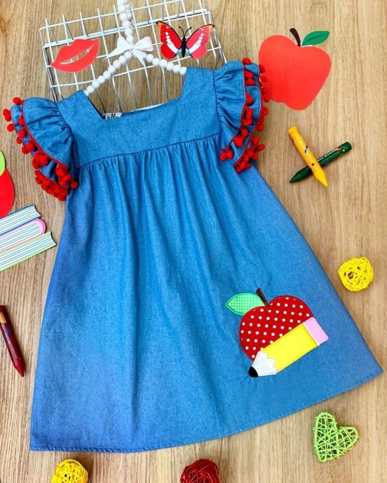 Girls Back To School Dress First day of school dress toddler image 0