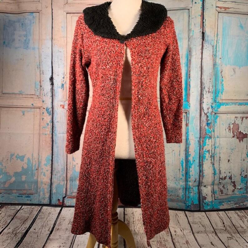 Vintage Fashion Bug Large Long Open Cardigan Red Tweed Faux Fur Collar