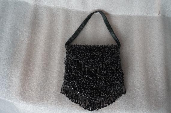 1950s Black BEADED Evening/Handbag Hand Made HONG