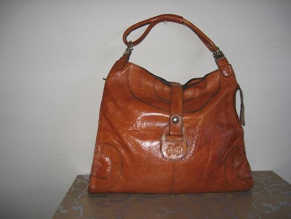 Vintage Genuine Leather bag, Brown cognac leather,