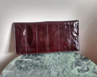 Vintage eel skin wallet, slim holder, Dark bordo wallet, Made in Korea, leather wallet, # 030
