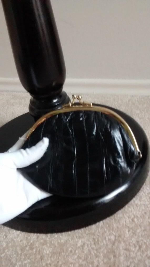 Vintage eel skin black wallet, slim holder, hand … - image 1