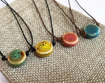 AFIFE ceramic pottery bead necklace choker cord