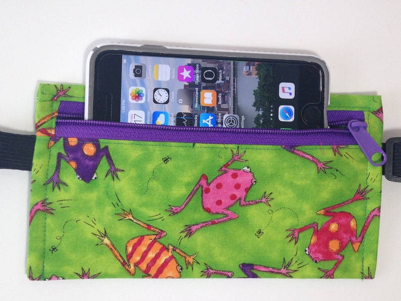 Waist purse Adjustable Waist Purse Cell Phone Purse w Green Frogs Best friend gift Fanny Pack Gift for kids Fun Purse Valentine gift