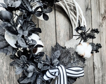 Black Halloween Wreath   Gothic Halloween Decor   Victorian Halloween Wreath