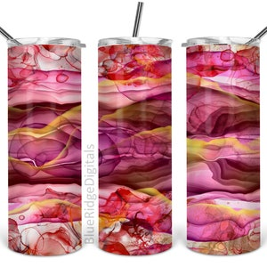 Alcohol Ink 20oz Skinny Tumbler Sublimation Designs STRAIGHT Abstract Burgundy Pink Gold Png Digital Download