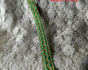 Green Lavender Pink Metallic Gold Ric Rac Rainbow Multi Color Trim Lace Wave Zig Zag Tape Ribbon