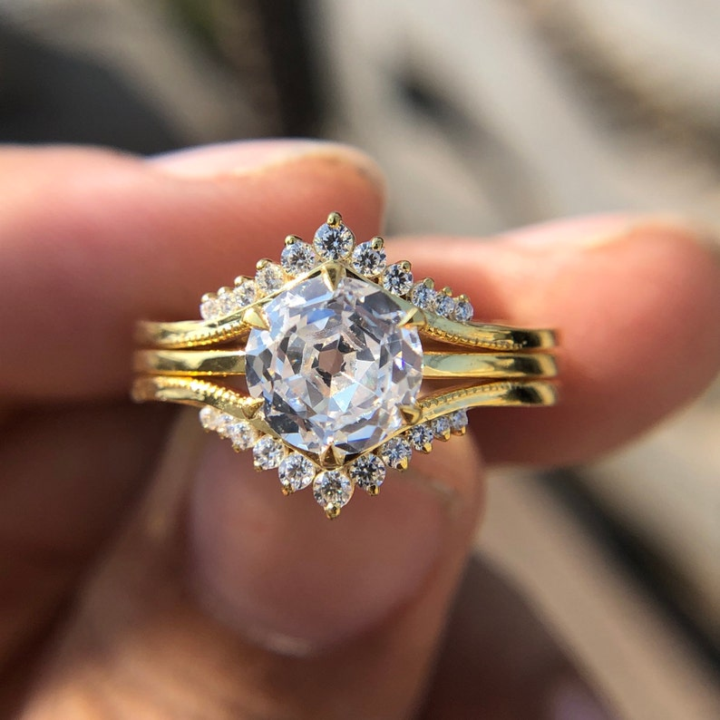 2.00 cttw Brilliant Solitaire Engagement Ring Two Tiara Half Wedding Band Ring  Promise Ring Bridal Set Ring Anniversary Ring diamond ring