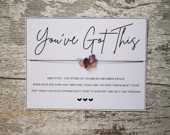 You've Got This | Amethyst Wish Bracelet | Calming | Anxiety | Healing | De-Stress | Mindful | Mindfulness | Positive | You Can Do It