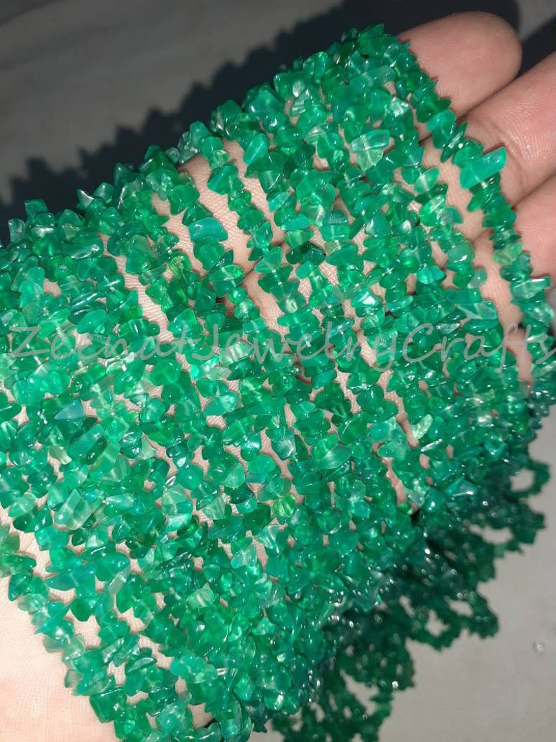Raw Rough Beads Loose Beads 34 Strand Natural Green Onyx Smooth Uncut Chips Gemstone Beads Green Onyx Nugget Uncut Chips Jewelry Designing