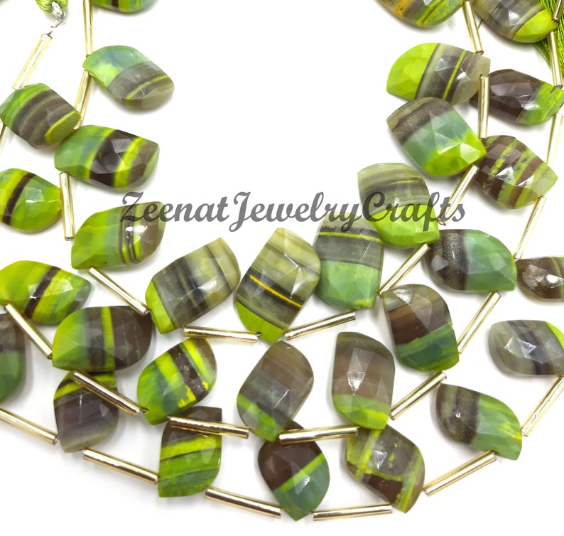 Yellow Boulder Opal Faceted Leaf Shape Gemstone Beads 8 Natural Boulder Opal Yellow Opal Yellow Boulder Fancy Opal Leaf Beads Jewelry Craft