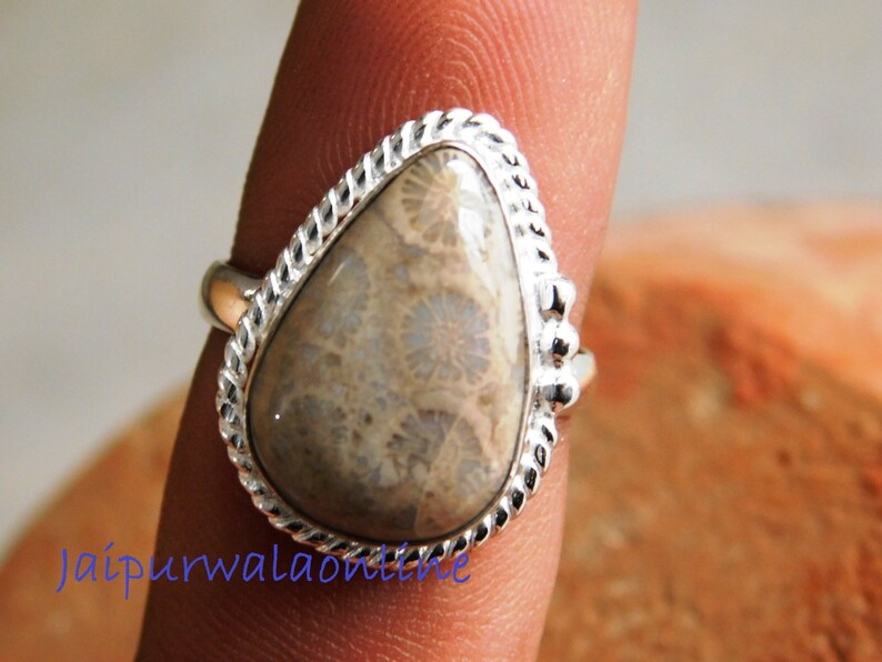 Fossil Coral Ring Fossil Coral gemstone Ring,stone Ring gemstone ring O-73 boho ring designer ring 925 Sterling Silver ring