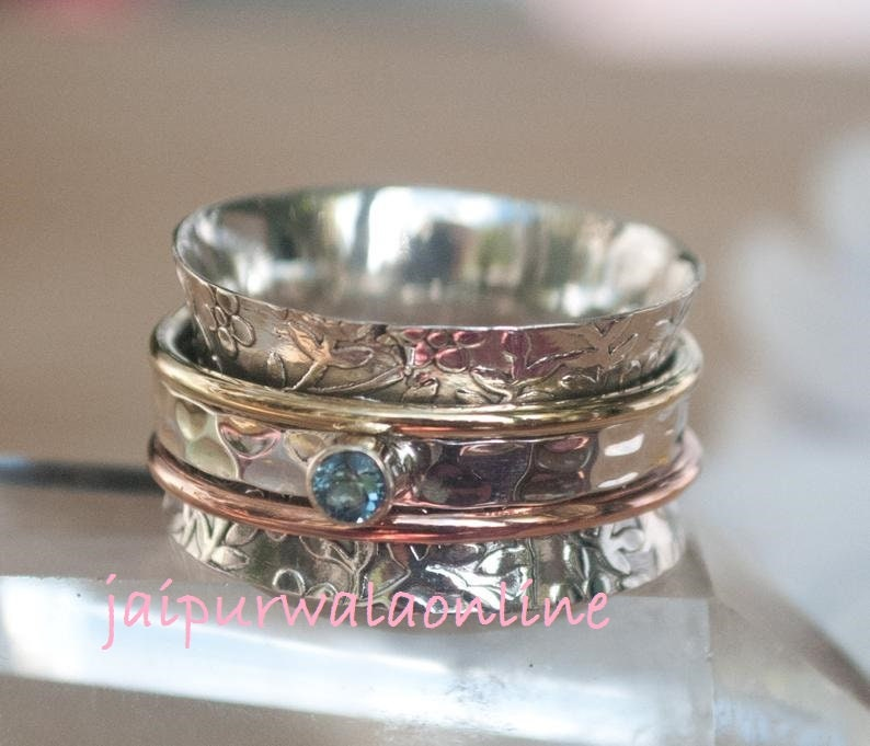 Blue Topaz Ring*Spinner Ring*925 Sterling Silver Ring*Blue Topaz Semi Precious Stone With Brass Tone Spinner*Silver Band Ring*Two Tone Ring*