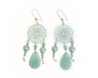 jade boho jewelry jade curls Bronze and jade earrings bronze earrings original earrings boho style