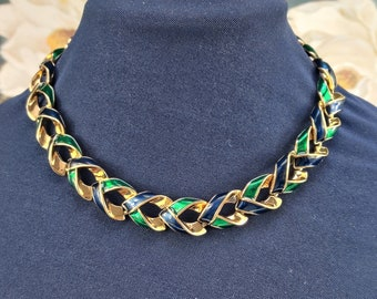 D/'Orlan Signed Five Strand Silver Tone Metal Necklace  60/'s Designer Necklace  16