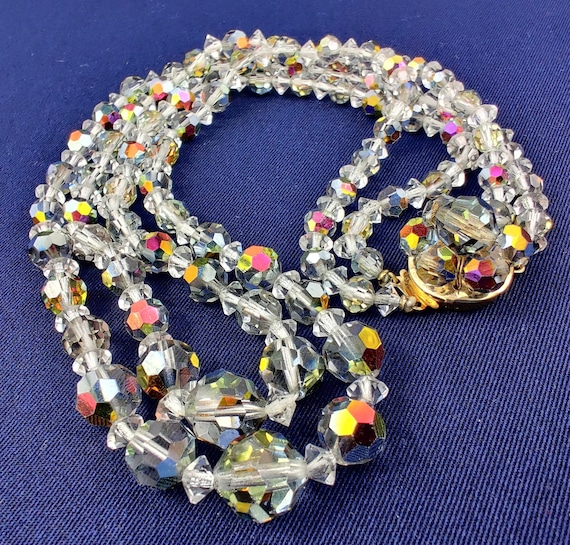 VINTAGE 70'S YELLOW /& GRAY AURORA BOREALIS CRYSTAL GLASS BEAD PIERCED EARRINGS