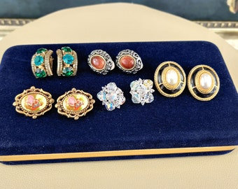 Jewelry Lot, 5 pc, Earrings, Vintage, Clip On, Luxury, Goldstone, Cameo, Courting Couple, Gift