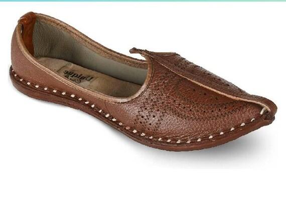 Indian Flat Shoes Handmade Mens Mules Ethnic Mojari Traditional Khussa Juti