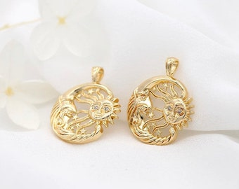 14k Gold plated Sun and moon coin charm sun charm, Medallion charm Gold plated Coin charm Medallion coin charm Gold Disc charm pendant