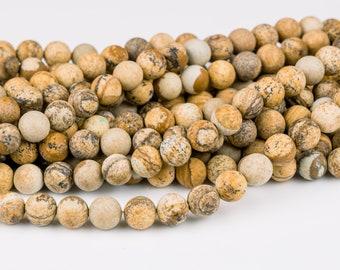 10mm matte picture jasper round beads 15.5 strand 38045