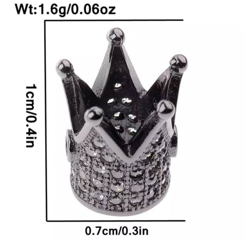 Gold plated micro pave cubic zirconia crown charm 10 mm crown beads crown pave beads crown charm crown beads charm