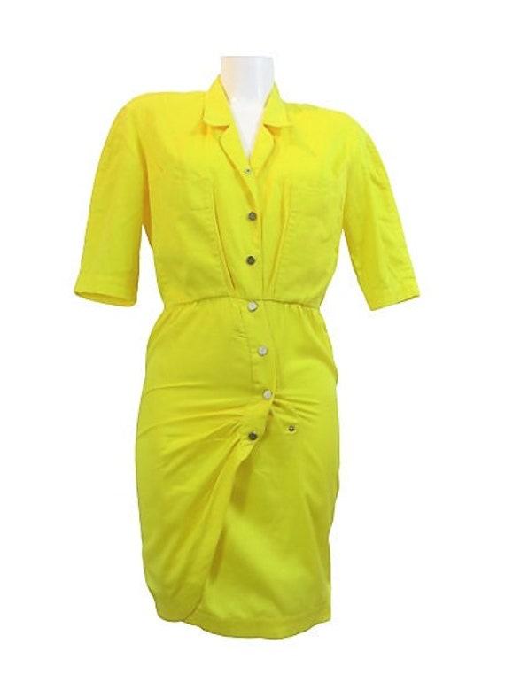 Thierry Mugler sun yellow cotton dress vintage