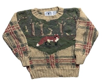 Vintage Pullover 90s clothing knitwear Size M pattern KK06473 90s jumper Vintage Sweater