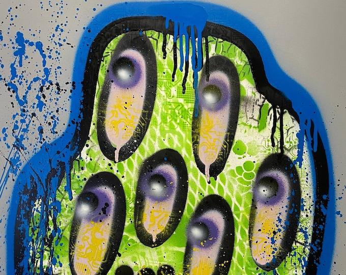 Title: Blue Blob, art, fine art, pop art, modern art, contemporary art, acrylic, surreal art, abstract art, painting