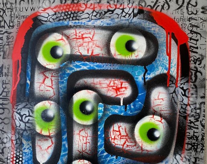 Title: Shifty Eyes, art, fine art, pop art, modern art, contemporary art, acrylic, art on paper, surreal art, abstract art, painting